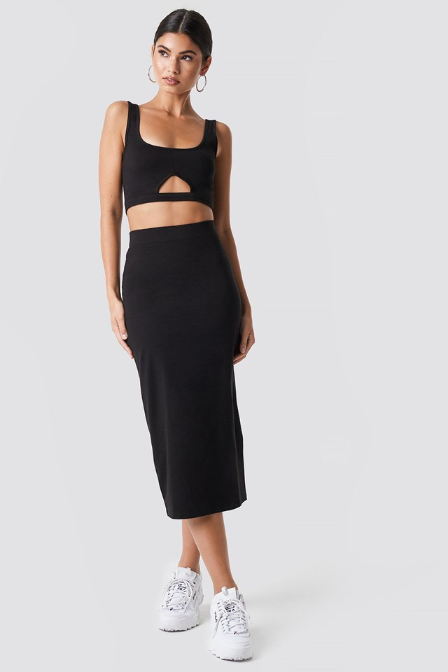 Long Black Pencil Skirt