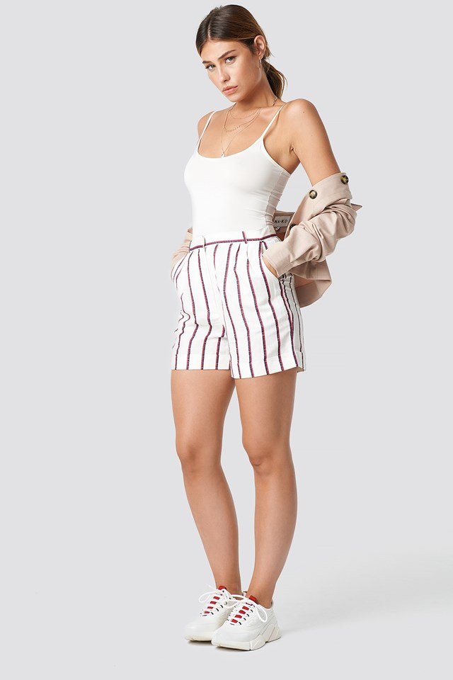 High waist striped short
