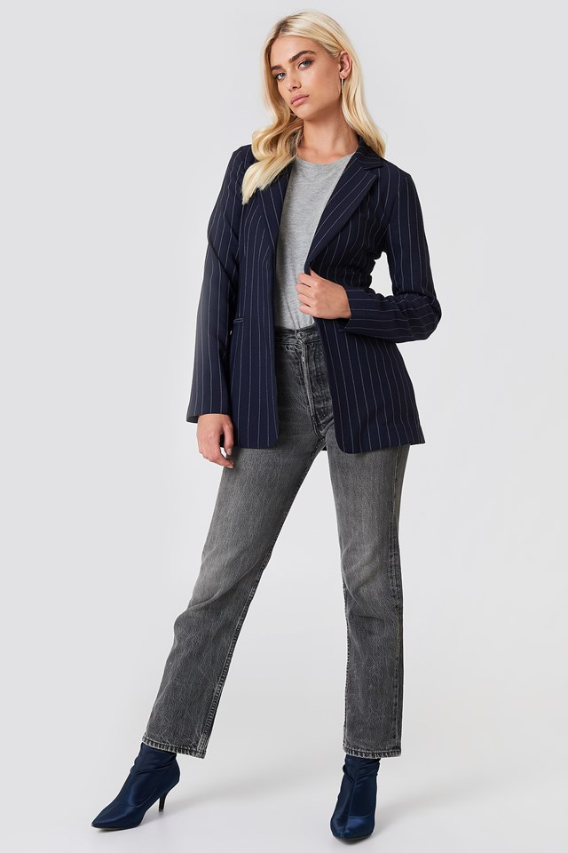 Denim Jeans & Striped Blazer