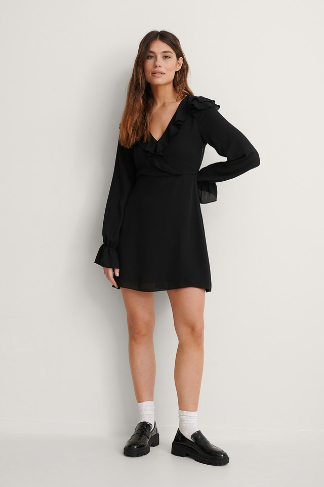 Wrapped Frill Dress Outfit.
