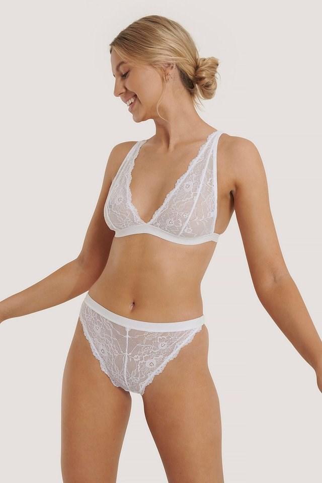 White Soft Wavy Blossom High Waist Panty