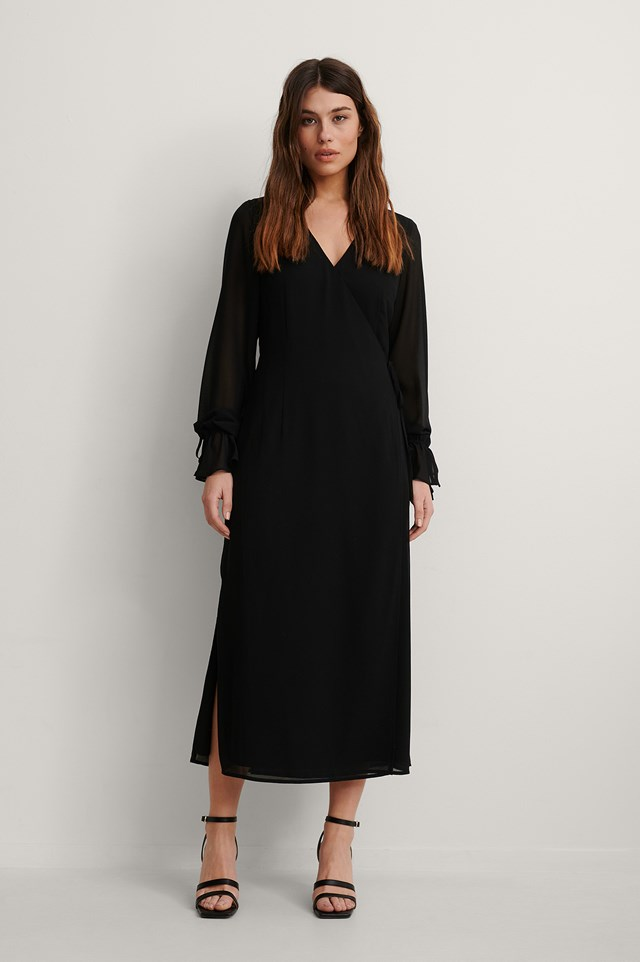 Tie Strap Overlap Midi Dress Outfit.