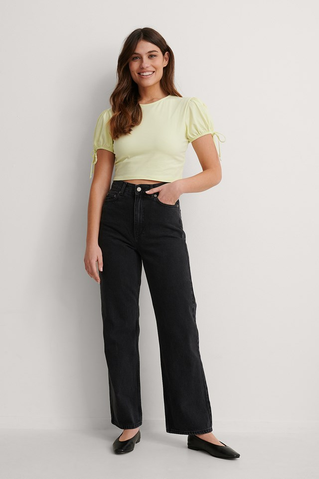 Yellow Cropped Jersey Top