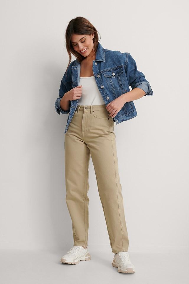 Olive Organic High Waist Barrel Leg Jeans