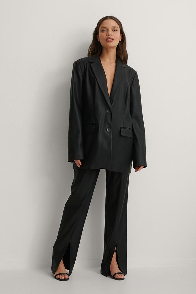 Oversized PU Blazer Outfit.