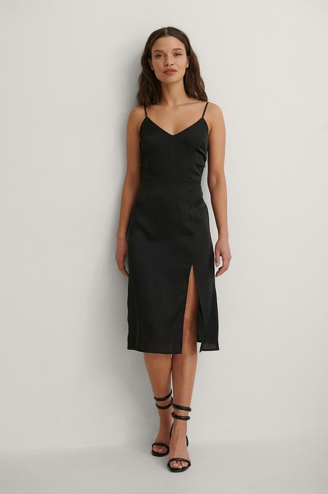 Satin Deep Maxi Dress Outfit.
