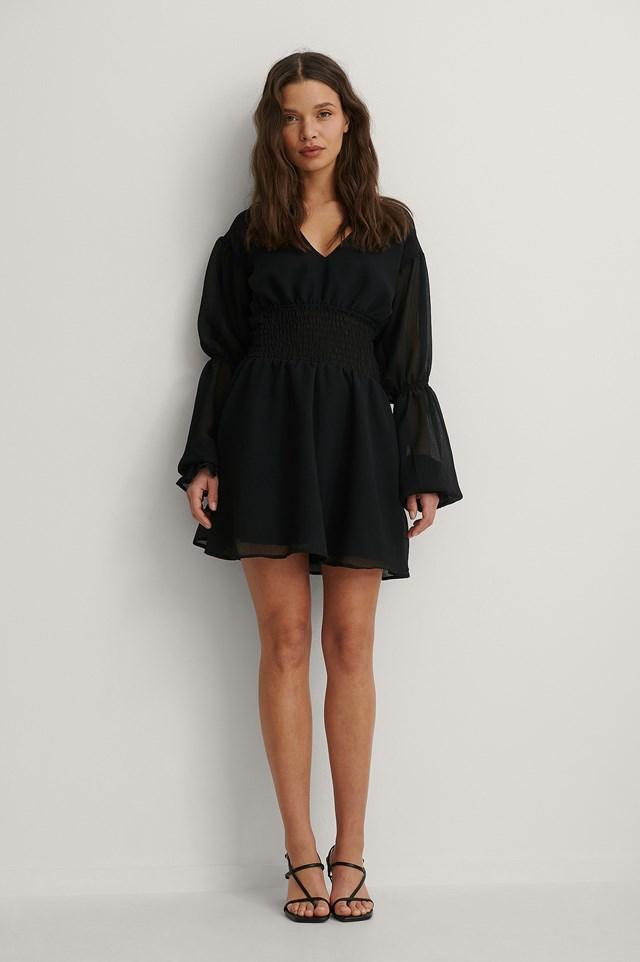 Smocked Waist Mini Dress Outfit.