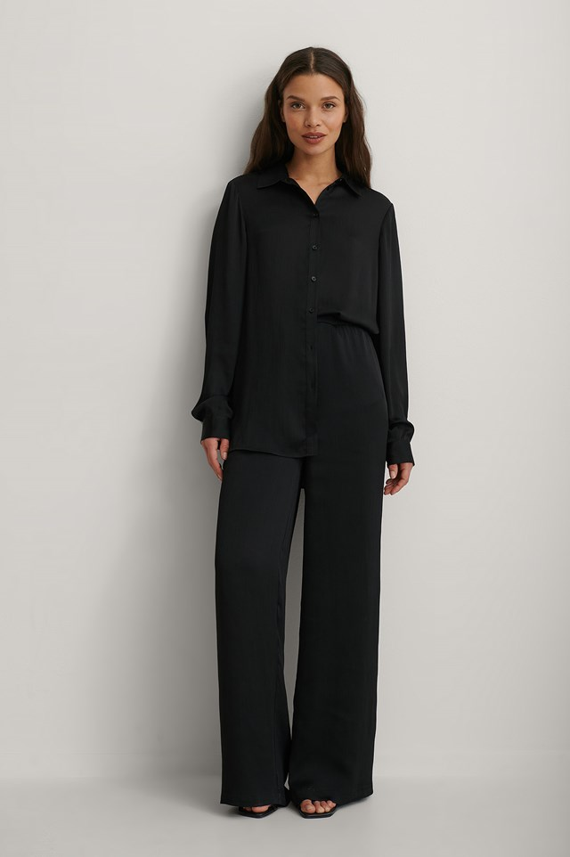 Structured Oversized Shirt and Structured Wide Leg Pants Outfit.