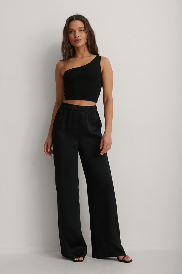 Strap Back One Sleeve Top Outfit.