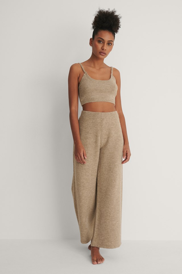 Knitted Cropped Top and Knitted Trousers Outfit.