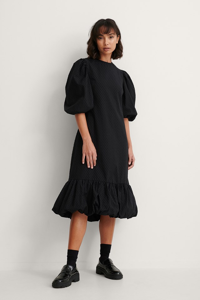 Back Detail Volume Sleeve Dress Outfit.