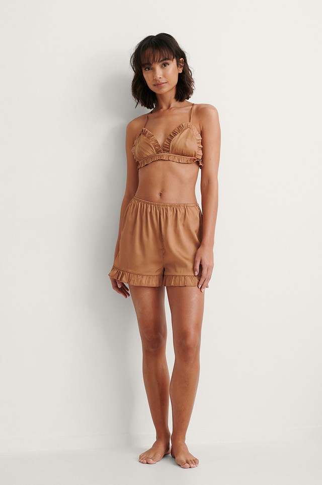 Frill Detail Bra and Frill Detail Shorts Outfit.