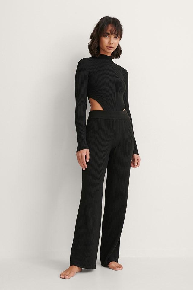 Black Recycled High Cut Long Sleeve Body