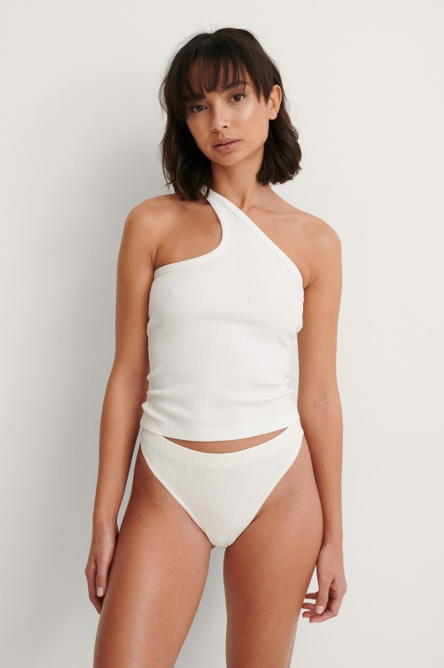 White One Shoulder Cut Detail Singlet