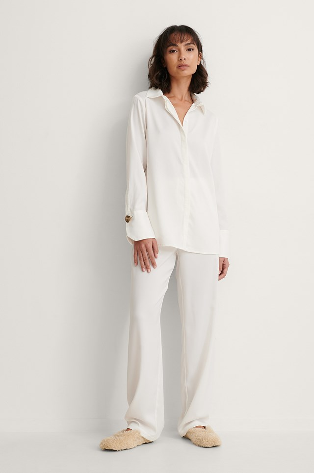 Tie Waist Straight Pants and Loose Shirt Outfit.