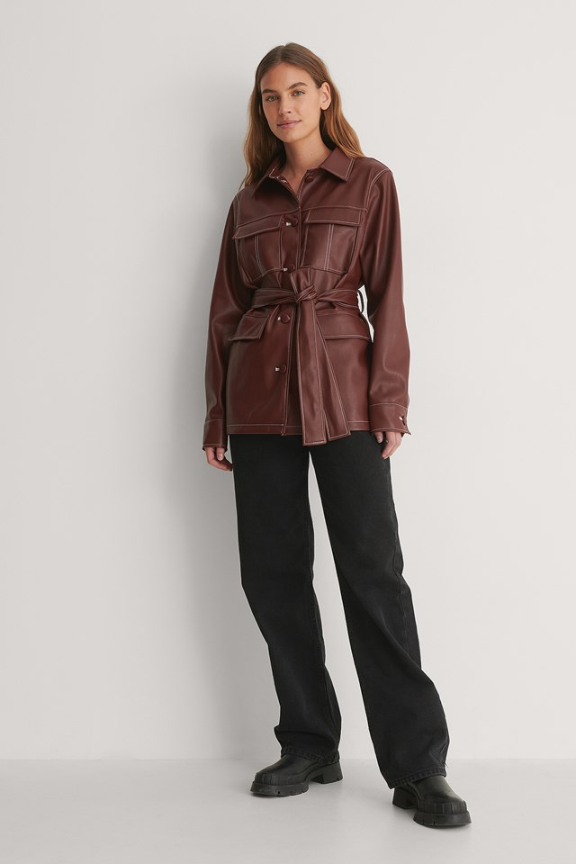 PU Belted Shirt Jacket Outfit.