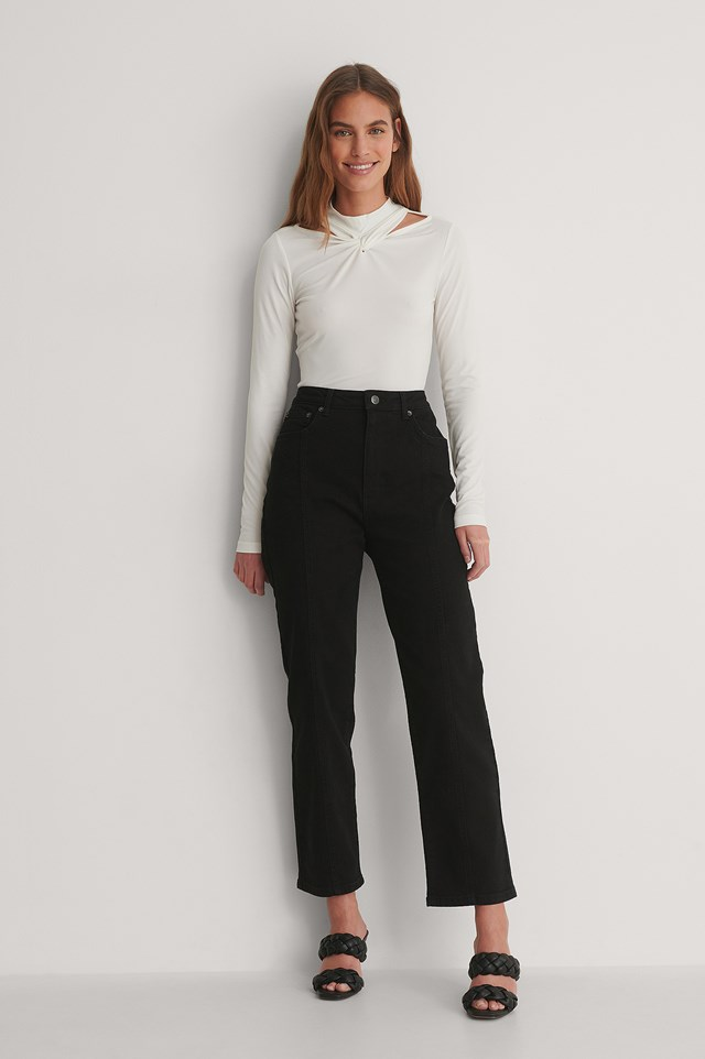 Twist Neck Jersey Top Outfit,