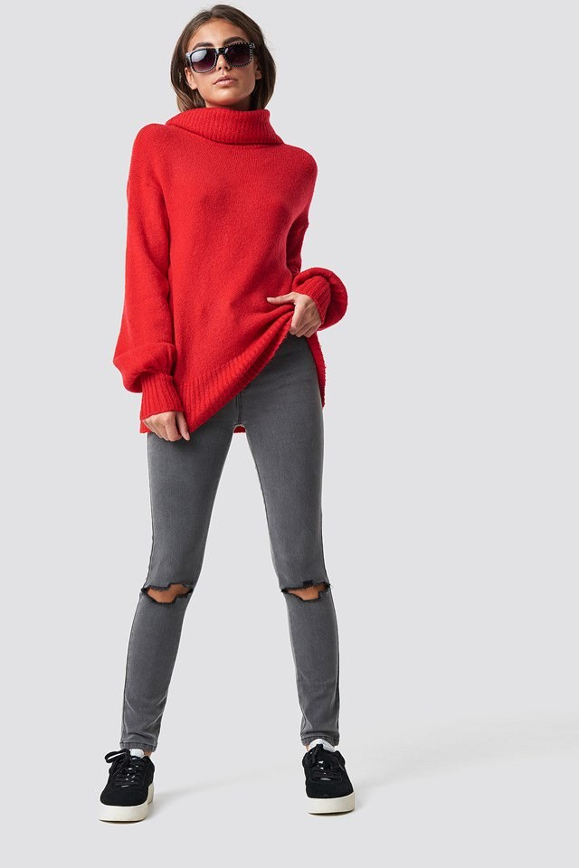 Red Knit X Grey Denim Outfit