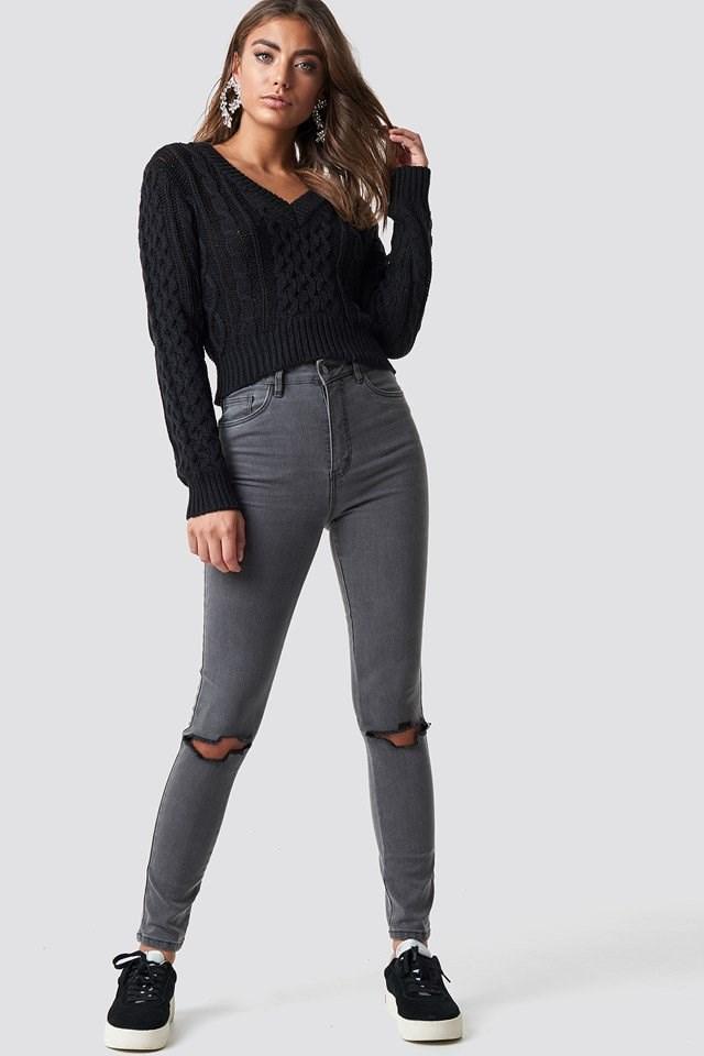Black Knit X Grey Denim Outfit