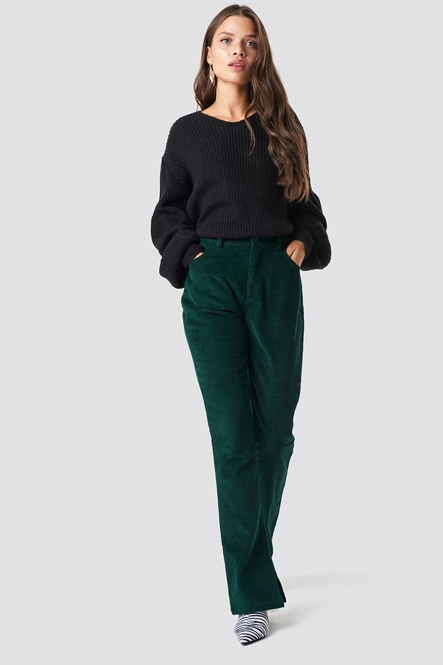 Green Pant Balloon Sweater Outfit