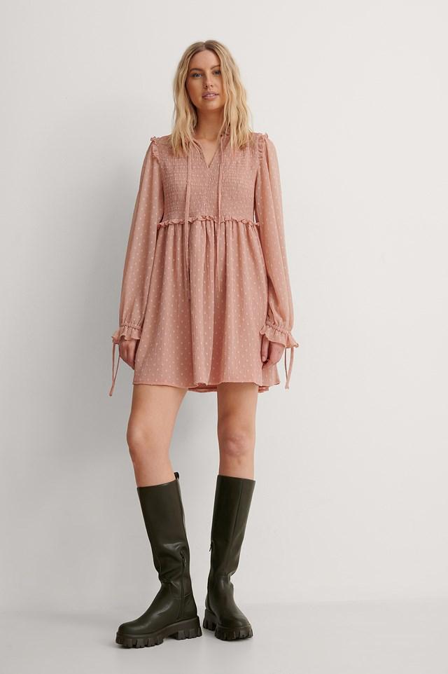 dobby mini dress
