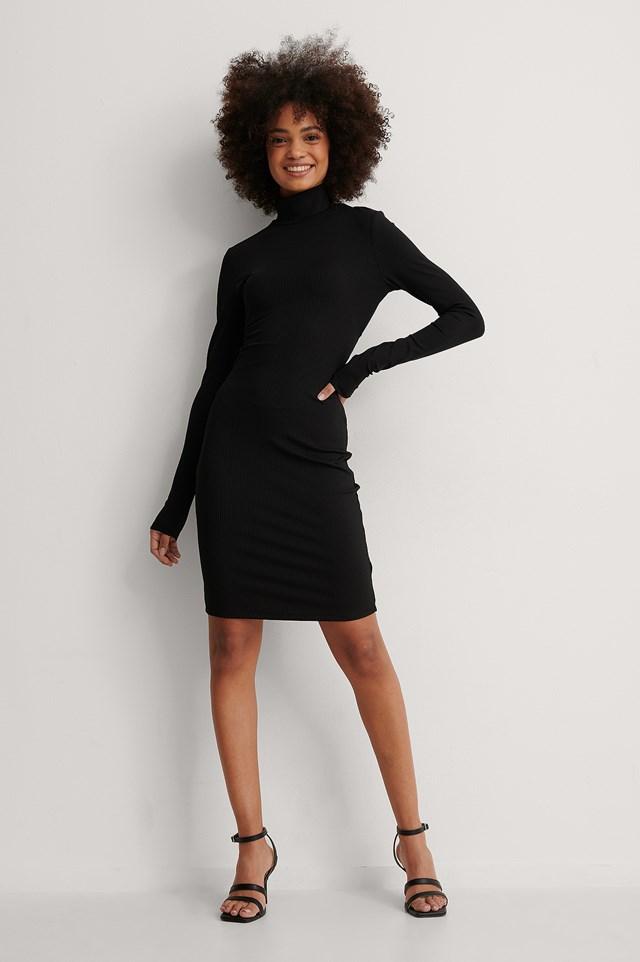 Black Open Back Highneck Dress