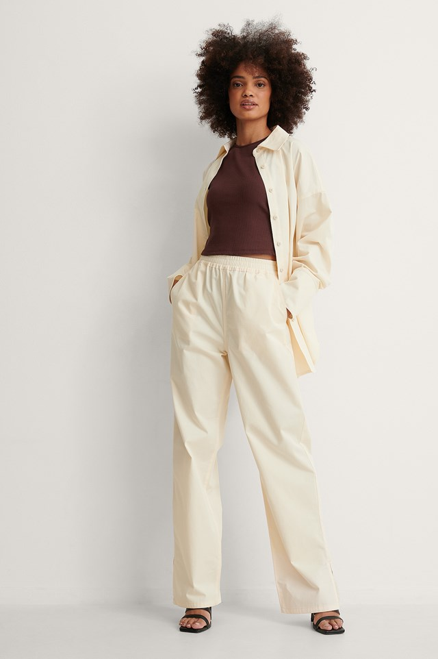 Beige Organic Oversized Dropped Shoulder Shirt