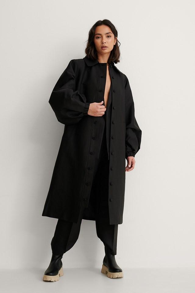 Black Balloon Sleeve Oversized Coat