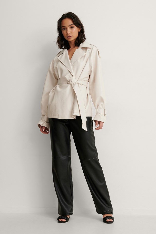 Belted PU Jacket