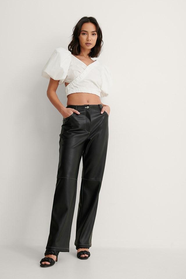 Contrast PU Pants