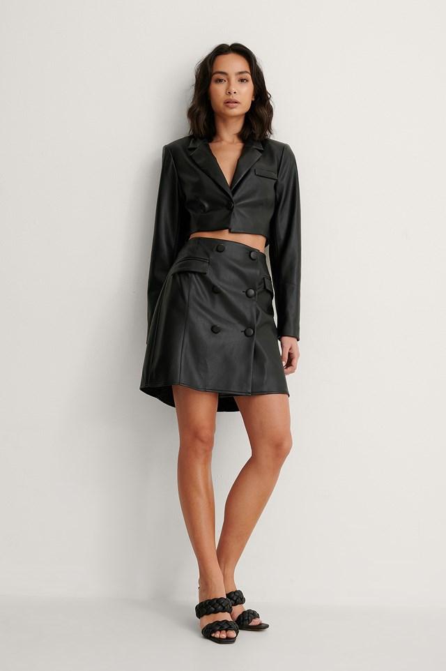 Black Cropped PU Blazer