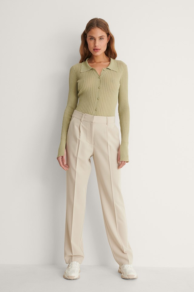Mid Rise Suit Pants Outfit
