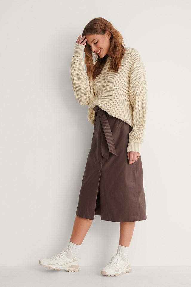 Belted PU Midi Skirt