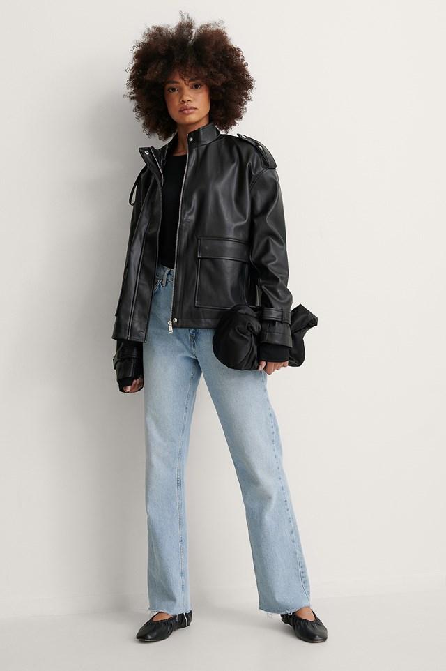 Oversized PU Drawstring Jacket