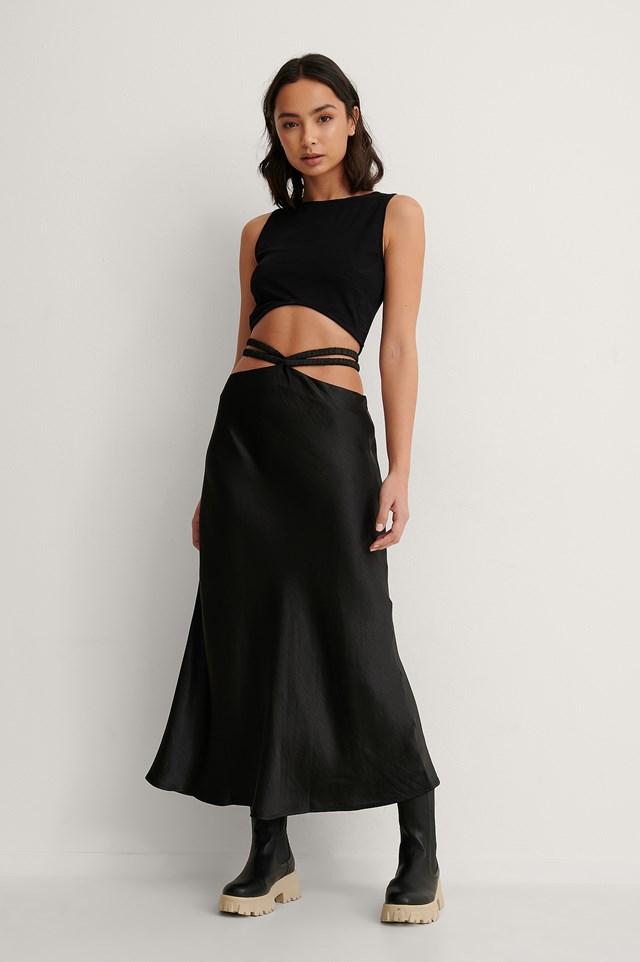 Satin Strap Midi Skirt