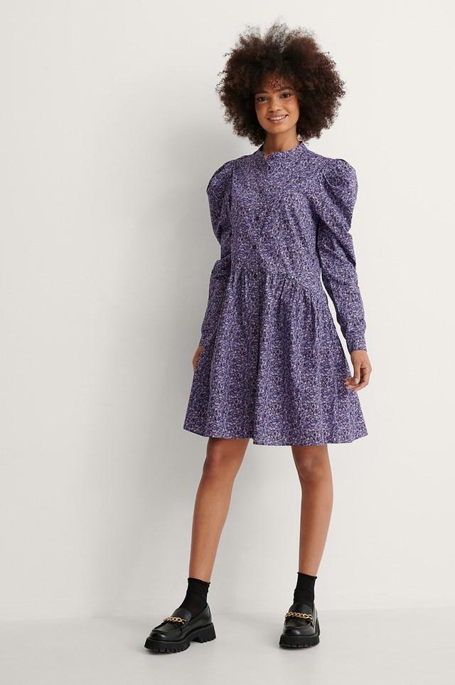 Puff Shoulder LS Buttoned Dress