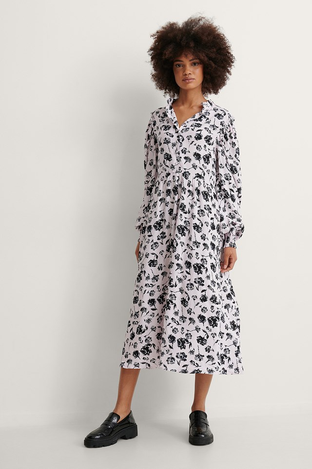 Elastic Waist Ls Midi Dress Outfit.