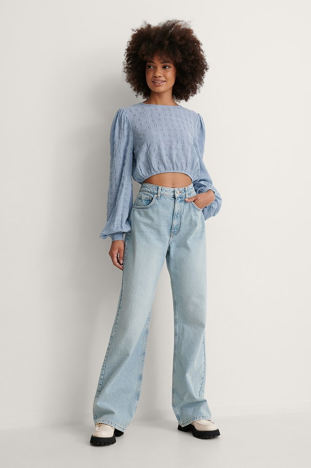 Structured Cropped LS Blouse