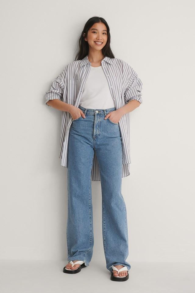 Oversized Striped Pocket Shirt