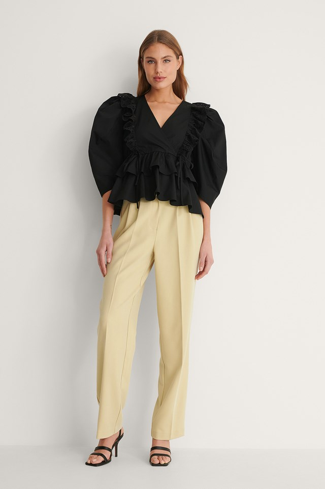 Drawstring Frill Blouse Outfit.