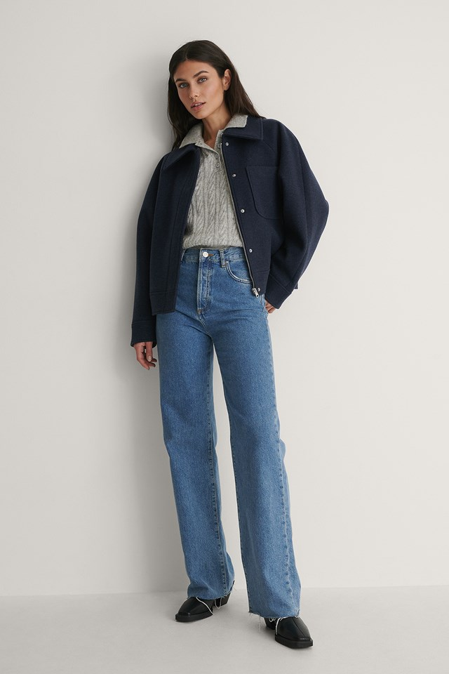 Oversized Short Chest Pocket Jacket Outfit