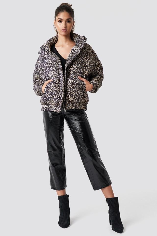Animal Print and PU Pants Outfit