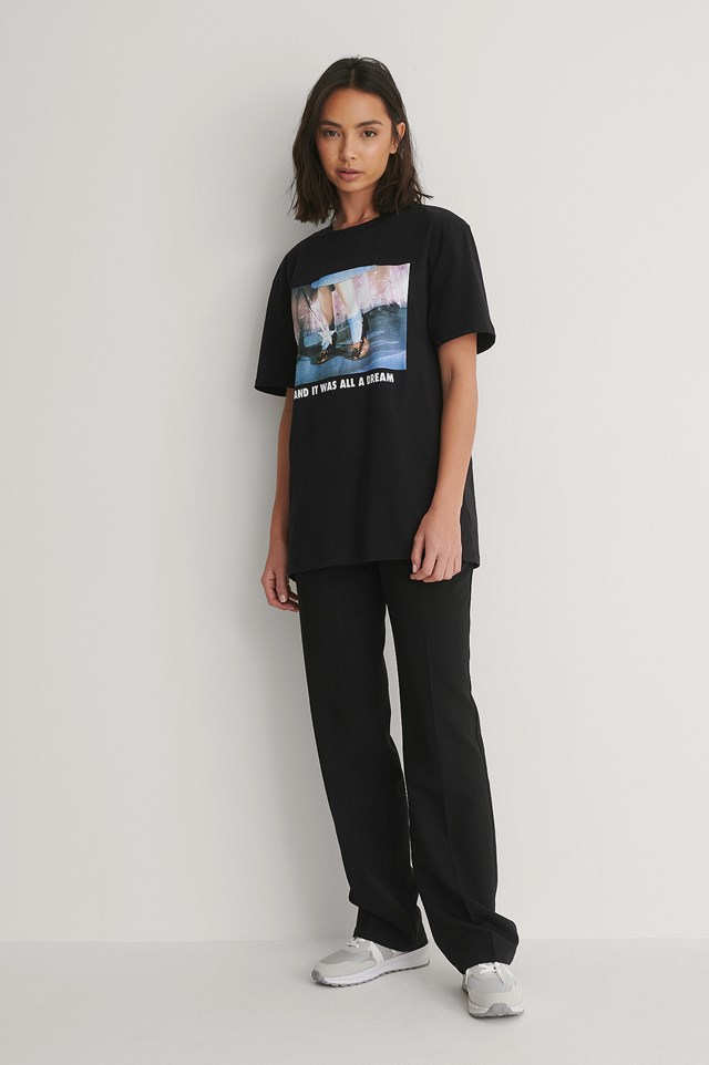 Unisex Tee and Black Suit Pants Outfit.