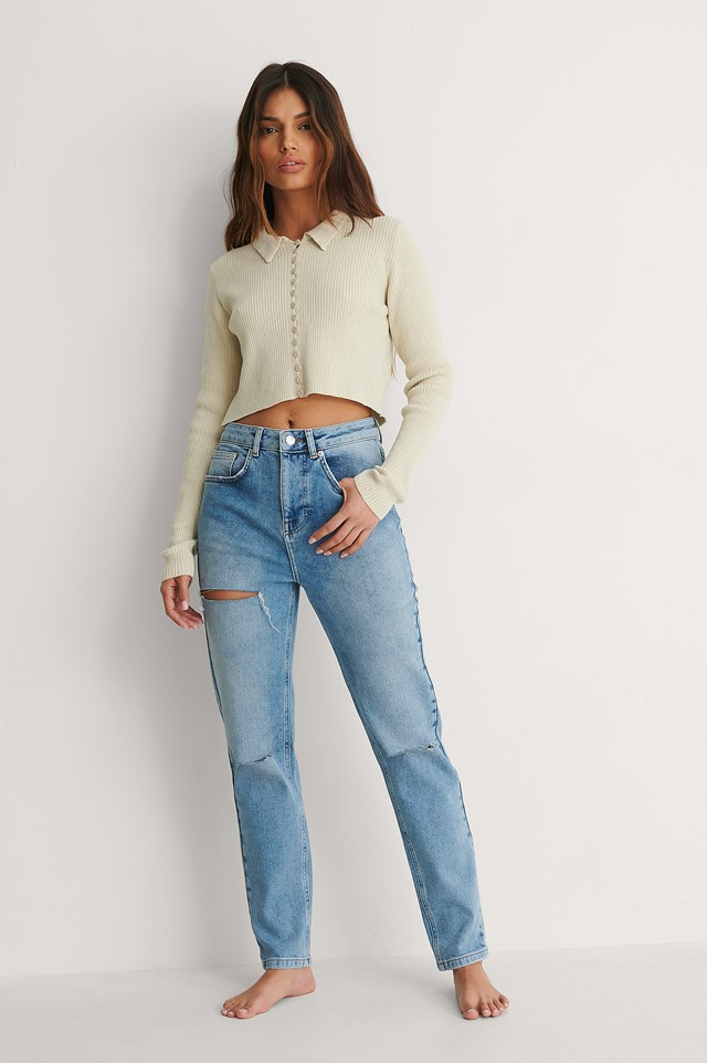 Mid Blue Organic High Waist Slim Destroyed Jeans