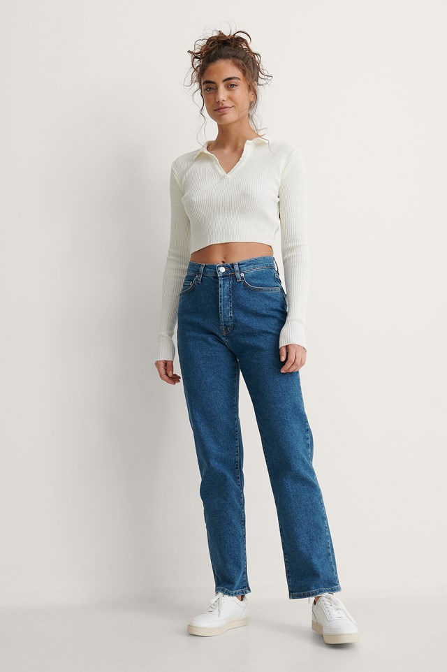 Blue Straight High Waist Jeans