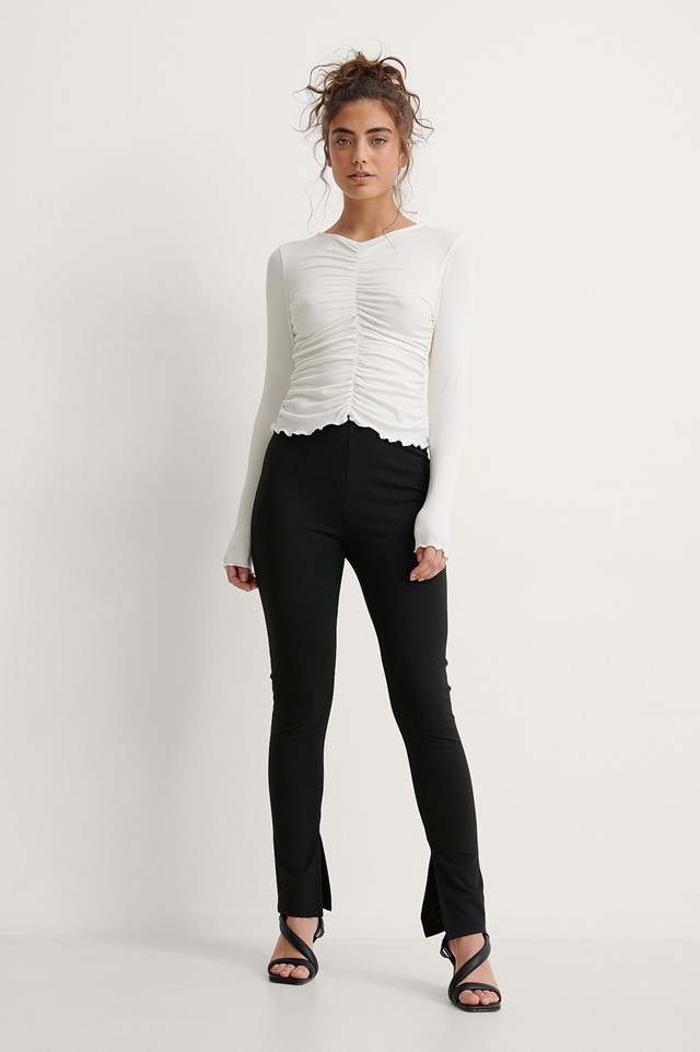Rouched Rib Top Outfit.
