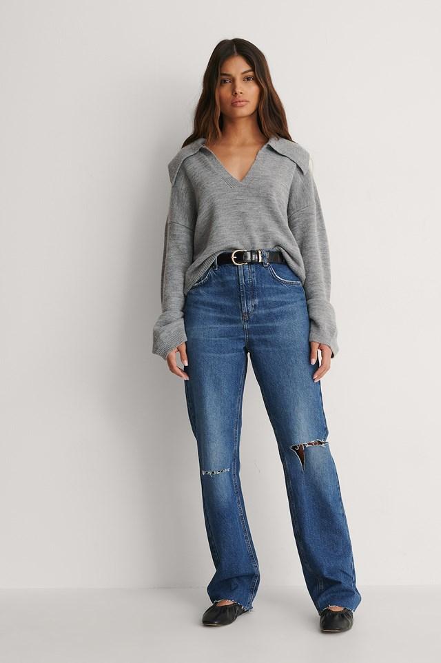 Open Knee Straight High Waist Jeans