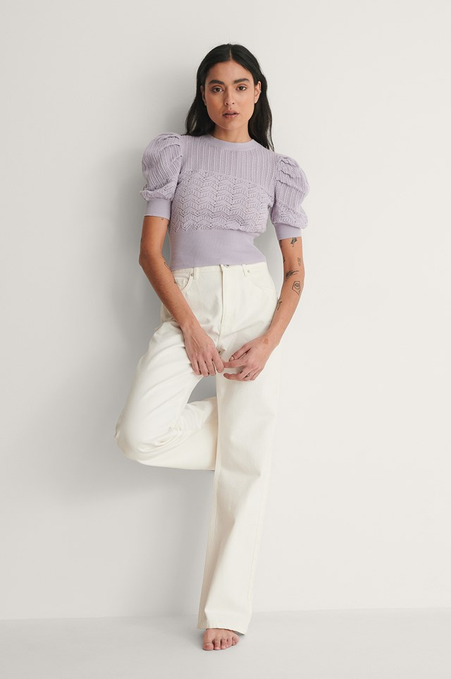 Structure Puff Sleeve Knitted Top