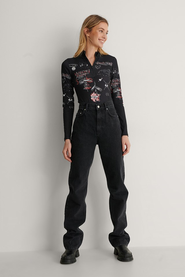 Front Zip Printed Bodysuit Outfit