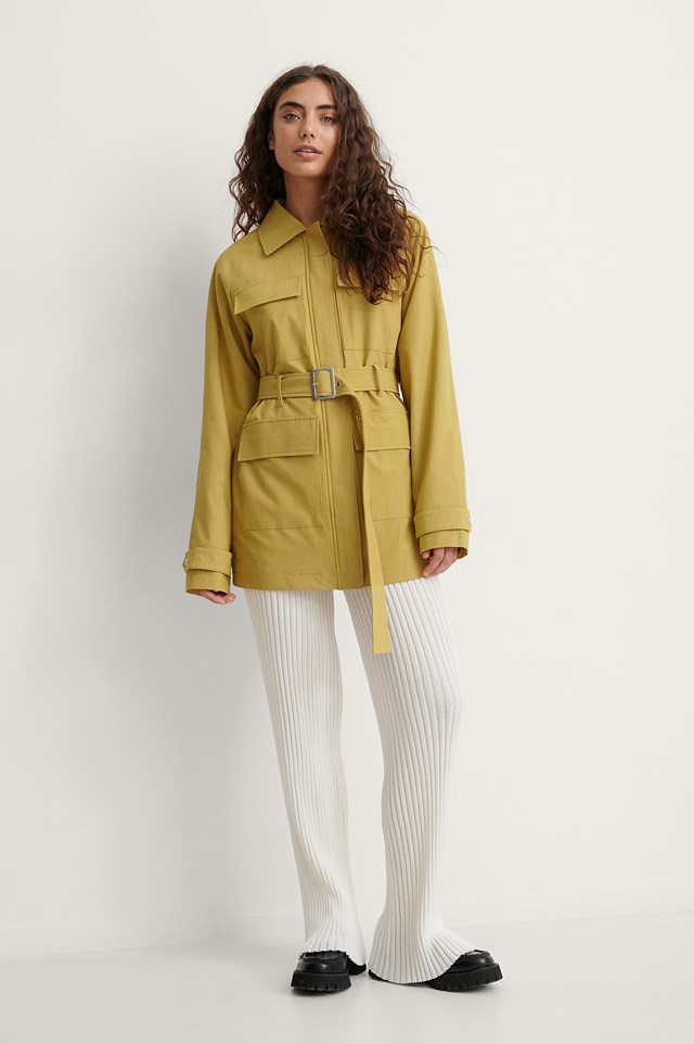 Belted Melange Jacket Outfit.